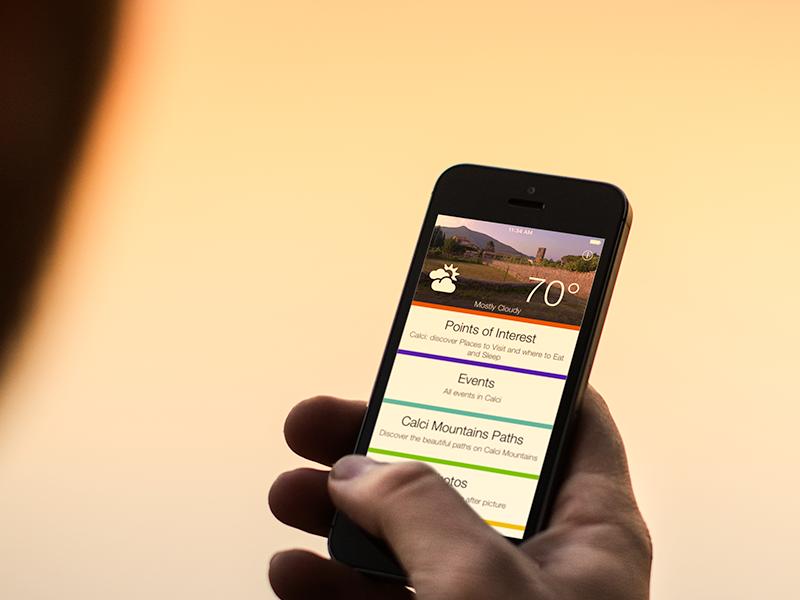 iPhone con una schermata con il meteo e i punti di interesse