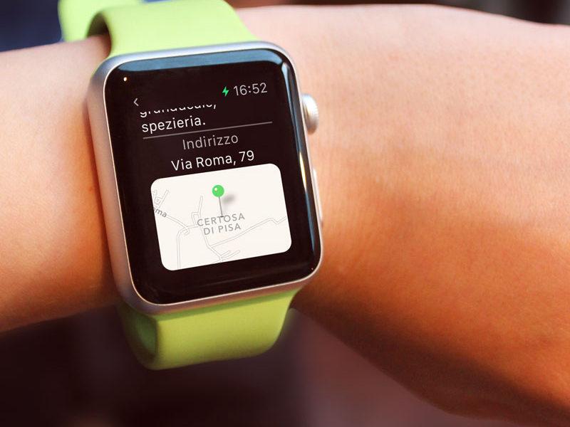 Apple Watch con la mappa di un punto di interesse