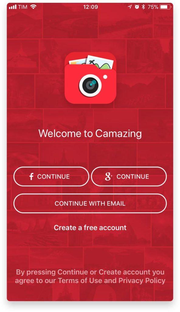 Applicazione di gestione fotografie per iOS e Android Camazing