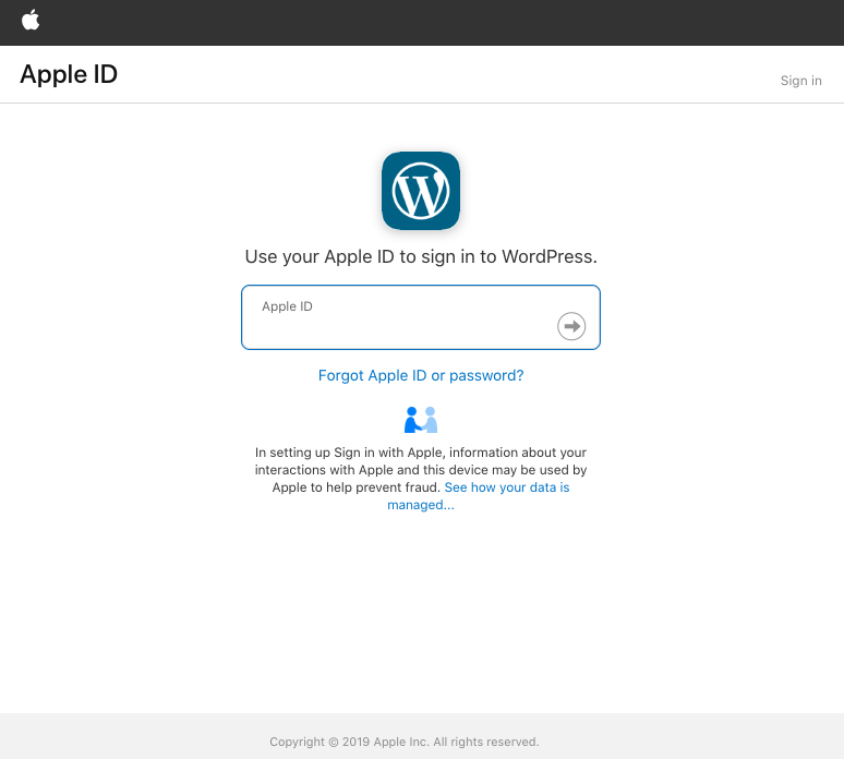 Wordpress.com e Sign in with Apple